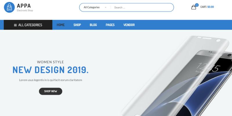 mẫu website bán hàng đồ điện tử appa