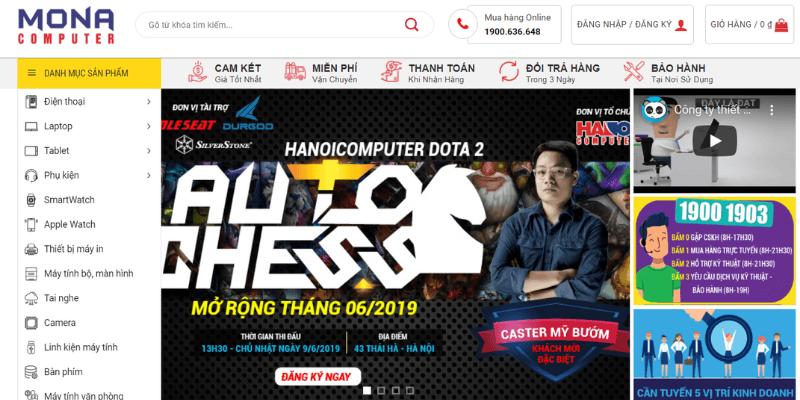 mẫu website bán hàng đồ điện tử mona